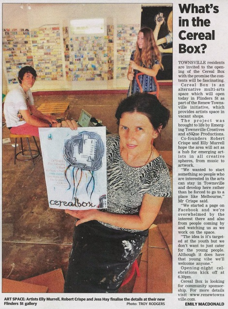 Preview article for the opening of the Renew Townsville artist run initiative, Cereal Box (Townsville Bulletin, 2010)