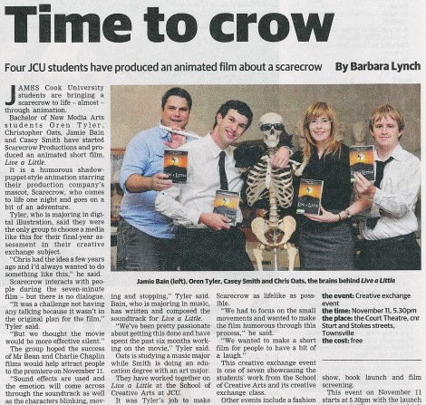 "Preview for the CXC project, the film ""Scarecrow"" (Townsville Bulletin, 2011)"