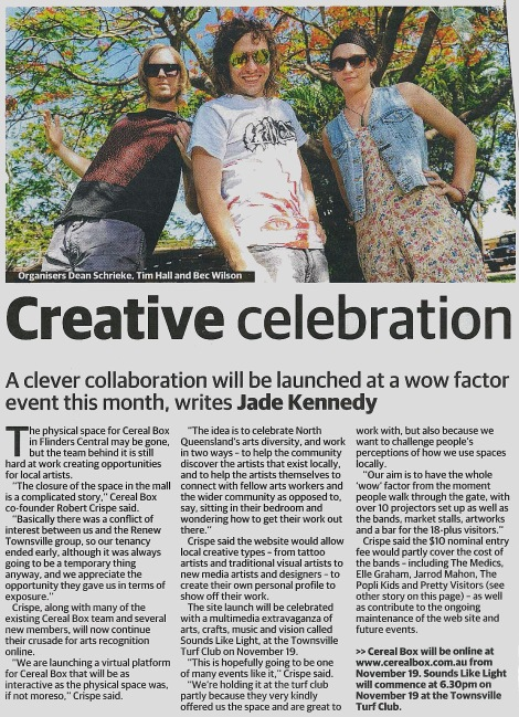 "Preview for the CXC project, the multi-arts festival ""Sounds Like Light"" (Townsville Bulletin, 2011)"