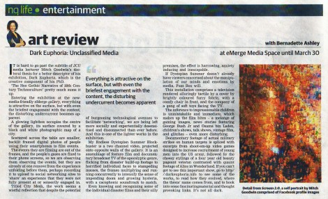 Review of my PhD exhibition, Dark Euphoria: Unclassified Media (Townsville Bulletin, 2012)