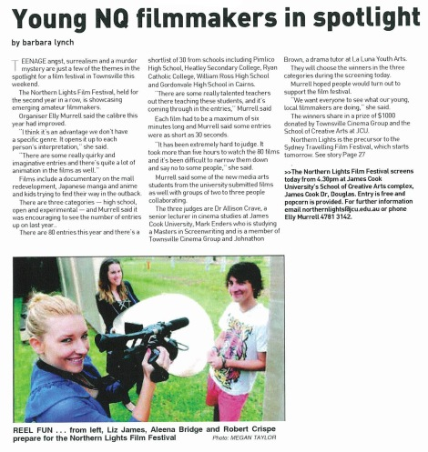 Preview article for the Northern Lights Film Festival (Townsville Bulletin, 2010)