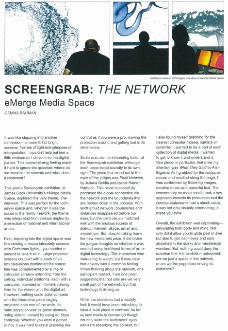 "Review of the second Screengrab Exhibition, ""Network"" in Art Gaze magazine, 2010"