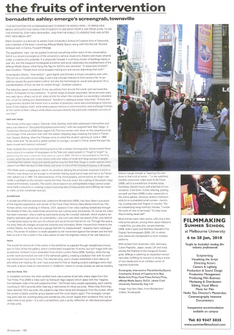 Review of the first Screengrab Exhibition in Real Time magazine, 2009