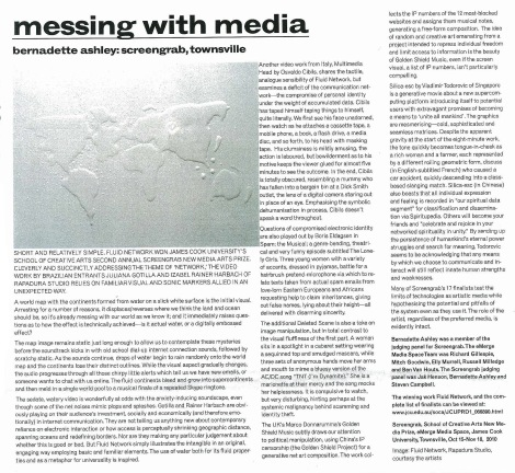 "Review of the second Screengrab Exhibition, ""Network"" in Real Time magazine, 2010"