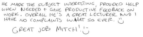 Teaching Survey Feedback - Anonymous NM1402 2009