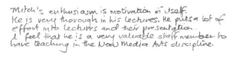 Teaching Survey Feedback - Anonymous NM2101 2008