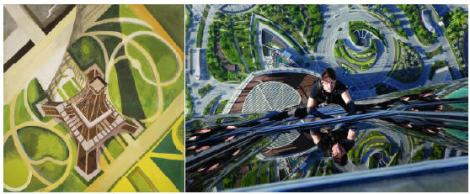 Robert Delaunay's Tour Eiffel and Gardens of the Champ–de–Mars (Delaunay, 1920) and Tom Cruise scales the Burj Khalifa in Mission: Impossible – Ghost Protocol (Bird, 2011).